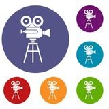 Retro film projector icons set. In flat circle reb, blue and green color for web Royalty Free Stock Photos