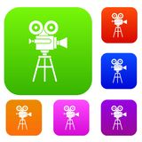 Retro film projector set collection. Retro film projector set icon in different colors isolated vector illustration. Premium collection Royalty Free Stock Images