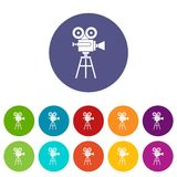 Retro film projector set icons. In different colors isolated on white background Stock Photography