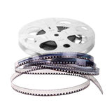 Retro Film Reel. Isolated on white background Stock Photo