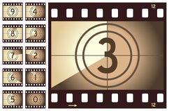 Retro Film Strip Countdown. Old retro film strip countdown, isolated on white background. Eps file available Royalty Free Stock Image