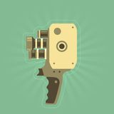 Retro film (video) camera with handle Stock Images