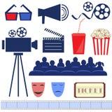 Retro- Filmbühne Flacher Vektor Stockfotos
