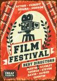Retro filmfestivalaffisch för Grunge Royaltyfri Foto