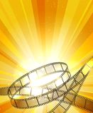 Retro filmstrip background. Vintage movie yellow vector background with film strip, video projection backdrop Royalty Free Stock Image