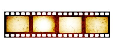 Retro filmstrip with grunge paper texture. Retro filmstrip with four frame on film and grunge paper texture. Object isolated on white background. Mock up Royalty Free Stock Photography
