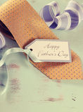 Retro filter Happy Fathers Day yellow tie Stock Image