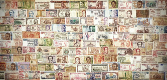 Retro filtered banknotes from all over the world Stock Image