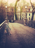 Retro Filtered Bicycles On Bridge In Winter Royalty Free Stock Photos