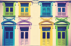 Retro filtered colorful windows. Royalty Free Stock Image