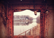 Retro filtered grungy industrial view. Stock Image