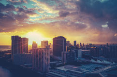 Retro Filtered Hawaii Cityscape Stock Photography