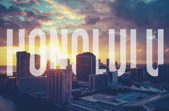 Retro Filtered Honolulu With Text Royalty Free Stock Image