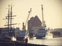 Retro filtered picture of harbor in Kolobrzeg, Poland. Royalty Free Stock Photo