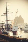 Retro filtered picture of harbor in Kolobrzeg, Poland Stock Photography
