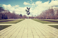 Retro filtered picture of municipal park, Szczecin. Royalty Free Stock Images