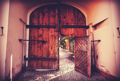Retro filtered picture of old wooden gate Royalty Free Stock Images