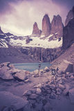 Retro filtered picture of Torres del Paine National Park. Stock Photography