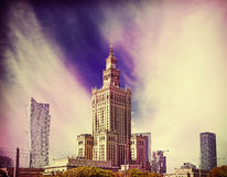 Retro filtered picture of Warsaw downtown Royalty Free Stock Photo