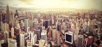 Retro filtered skyline of Kuala Lumpur, Malaysia Royalty Free Stock Photo