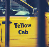 Retro Filtered Yellow Cab Stock Photography
