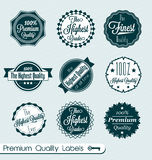 Retro Finest Quality Labels and Stickers. Collection of vintage style finest quality labels and badges Royalty Free Stock Photo