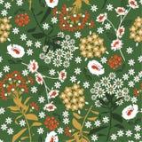 Retro fiore e foglia di fioritura densi geometrici nello scuro, passo royalty illustrazione gratis
