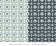 Retro fiore senza cuciture dell'incrocio del controllo del quadrato di colore Set_138 del modello 2 Fotografia Stock