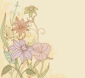 Retro fiori di colore sulla priorità bassa del grunge Immagine Stock