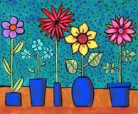 Retro fiori Funky Fotografie Stock Libere da Diritti