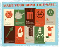 Retro Fire Safety Guide. These retro illustrations make fire safety cute! This handout or poster, easily printed on 8.5x11 paper, has 10 tips for keeping your Royalty Free Stock Photography