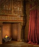 Retro fireplace with curtains Royalty Free Stock Photo