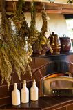 Retro fireplace in the rustic kitchen Royalty Free Stock Images
