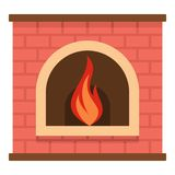 Retro fireplace icon, cartoon style. Retro fireplace icon. Cartoon illustration of retro fireplace vector icon for web Royalty Free Stock Images