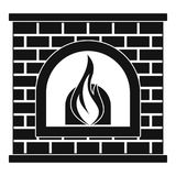 Retro fireplace icon, simple style. Retro fireplace icon. Simple illustration of retro fireplace vector icon for web Stock Photo