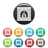 Retro fireplace icons set color vector. Retro fireplace icon. Simple illustration of retro fireplace vector icons set color isolated on white Royalty Free Stock Photo