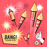 Retro Firework Rockets. Firework rockets, various angles and effects. Vector illustration Royalty Free Stock Photos