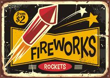 Vintage poster or flyer design for fire works rockets retailer Royalty Free Stock Photos