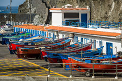 Retro- Fischerboote bei Teneriffa Stockfoto