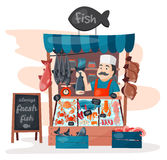 Retro fish street shop store market with freshness seafood in fridge traditional asian meal and man dealer business. Person meat seller vector illustration stock illustration