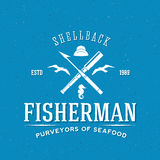 Retro Fisherman Vector Logo or Label Template. With Textured Background Royalty Free Stock Photo