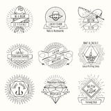 Retro fishing logo or labels set Stock Image