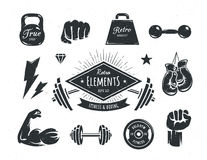 Retro Fitness Elements Royalty Free Stock Images