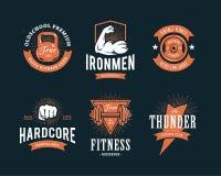 Retro Fitness Emblems. Set of retro styled fitness emblems. Vintage gym logo templates. Vector illustrations Royalty Free Stock Image