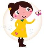 Retro fjädra den gulliga flickan i gul klänning med fjärilen Royaltyfria Bilder