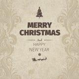 Retro- flache Art der Weinlese wünschen modische Karte froher Weihnachten und neues Jahr Gruß Stockfotos
