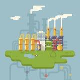Retro- flacher Fabrik-Raffinerie-Anlagenbau Lizenzfreie Stockfotografie