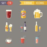 Retro- flaches Alkohol-Bier Juice Tea Wine Drink Icons Lizenzfreie Stockfotos