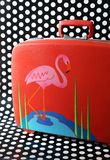 Retro flamingo suitcase. Original retro flamingo suitcase with polka dot background Royalty Free Stock Image