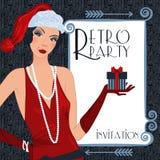 Retro flappper christmas girl. Retro background with flapper girl,  retro Christmas or New Year party invitation design in 20's style Royalty Free Stock Photos